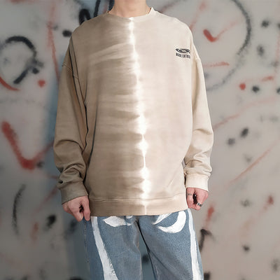 Tie-dye gradient round neck two tone sweatshirt