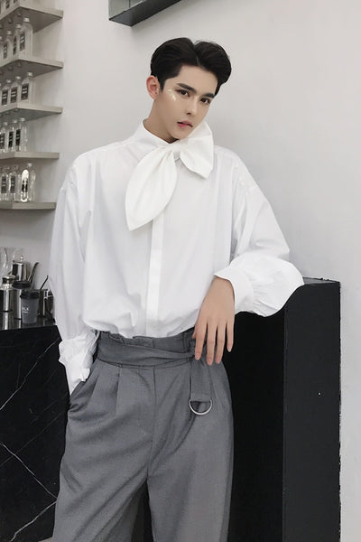 Summer leaf collar solid color bow loose Men's Shirt