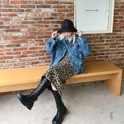 High Waist leopard animal print Korean Mid-length Girl Skirt