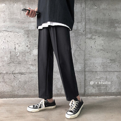 Straight fit pleated smart trousers