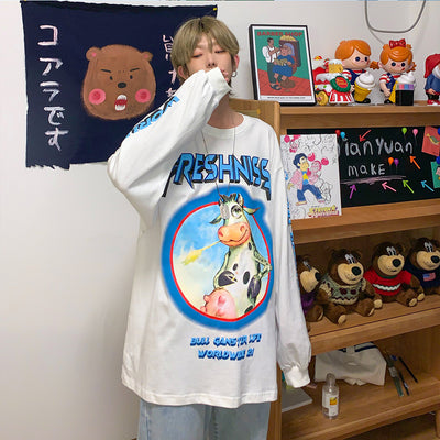 full-sleeve autumn oversize printed T-shirt