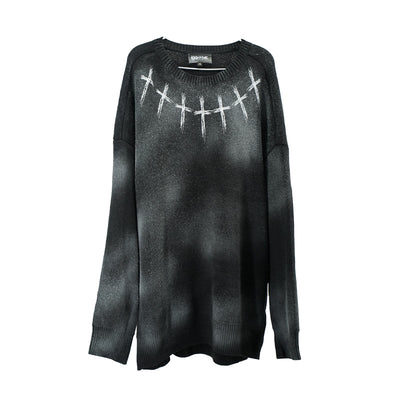 dark wind cross printed long-sleeved sweater