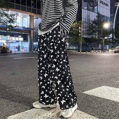 Summer butterfly printed wide-leg pants