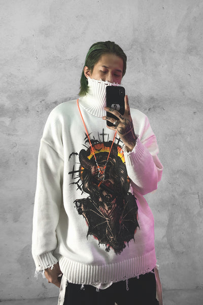 Mythological creature creepy cartoon oversize turtleneck knitted sweater in 2 colors