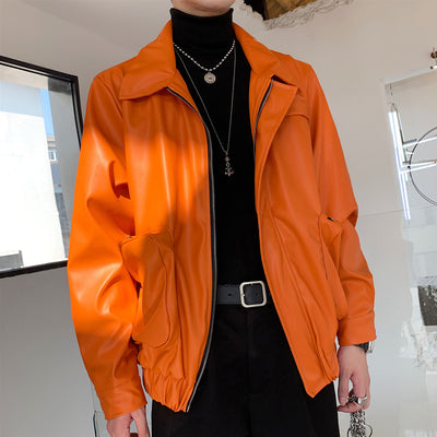 PU leather cropped boxy fit multi-pocket jacket in orange