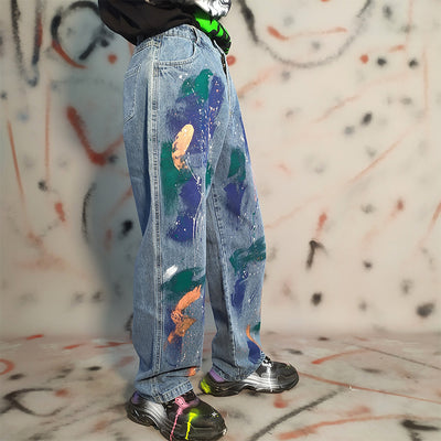 Hand-painted splash ink hip-hop loose graffiti jeans