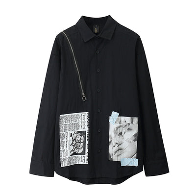 dark patch printing loose long sleeved shirt