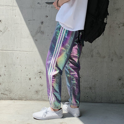 Summer reflective bright casual pants
