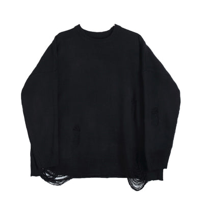 Loose fit oversize distressed ripped holes knitted sweater in black