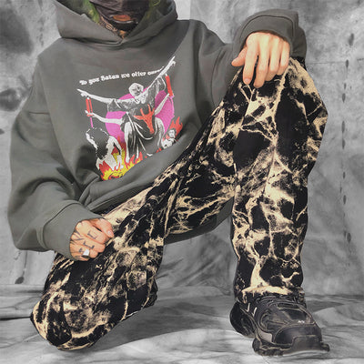 Tie-dye oversize straight fit retro washed out casual pants