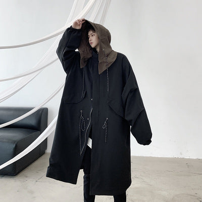 Contrast color hooded long loose parka jacket in black