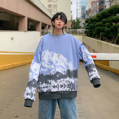 custom made earth mountain print Korean skater sweatshirt in 3 colors