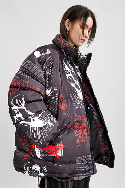 Anime cartoon print Naruto print Korean skater bomber thick puffer jacket in 2 colors