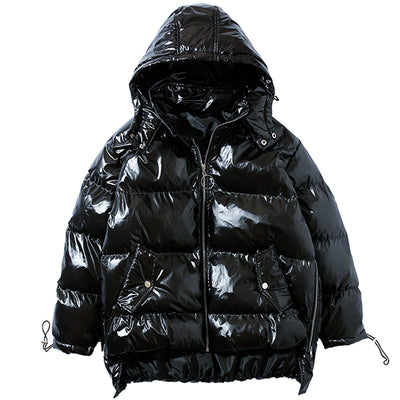 Rubbery shiny finish quilted thick bomber Korean skater puffer jacket in 2 colors