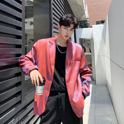 polarized luminous shiny finish gradient loose fit  blazer jacket in 2 colors