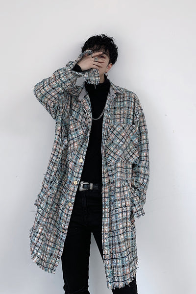 woolen raw edge finish unusual check long sleeve shirt jacket