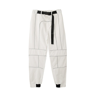 high waist cotton casual stripes trousers