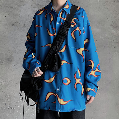 printed long-sleeved casual shirt