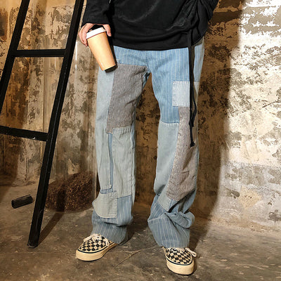 multi-cut patch pieces stitching reworked straight fit jeans in 2 colors