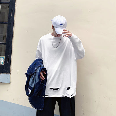 loose fit distressed ripped holes long-sleeved T-shirt thin sweatshirt in 3 colors