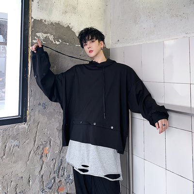 Loose fit rivet bat wing sleeve long strings hoodie