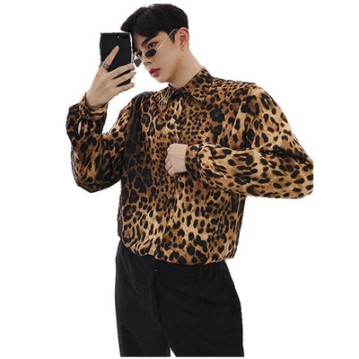 leopard animal print long-sleeved shirt in brown