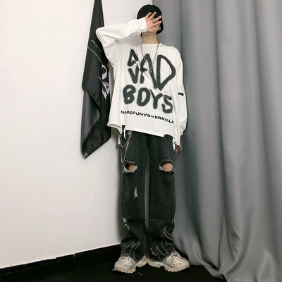 sad boys slogan graffiti painted long-sleeved loose T-shirt