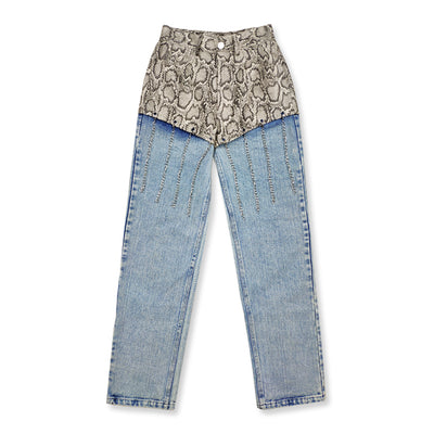 Washed out stitched denim & PU leather snake pattern chain straight fit Girl jeans