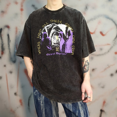 Retro washed oversize loose half-sleeved religious motives t-shirt