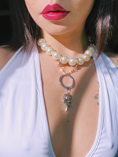 Original Design Exaggerated Pearl Metal Chain Ring Cyber Gothic Pendant Necklace