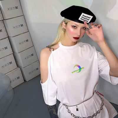 white leather label custom beret