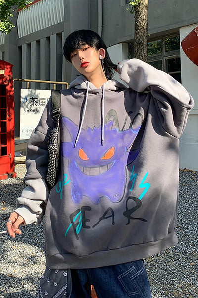 Stitched two piece deer cartoon monster graffiti print beam adjustable hoodie in 4 colors