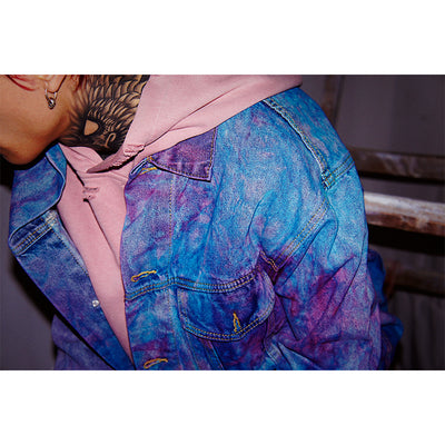tie-dye starry color bomb graffiti loose fit gradient denim jacket