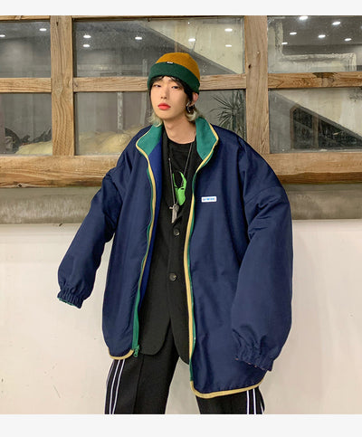 multi color stitched reversible Korean skater jacket in blue