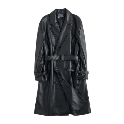 PU leather long length high quality loose fit casual Trench jacket in black