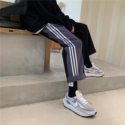 Three stripe stitched fabric casual sports pants in 2 colors