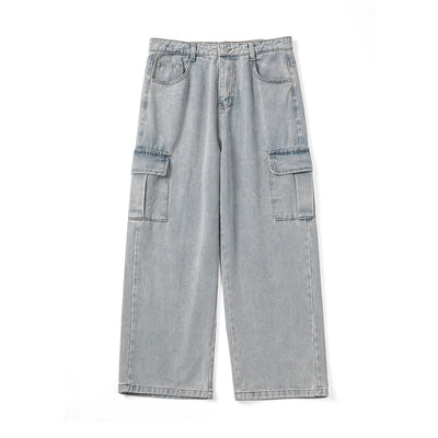 loose fit cargo pockets roll up wide leg jeans in bleached gray blue