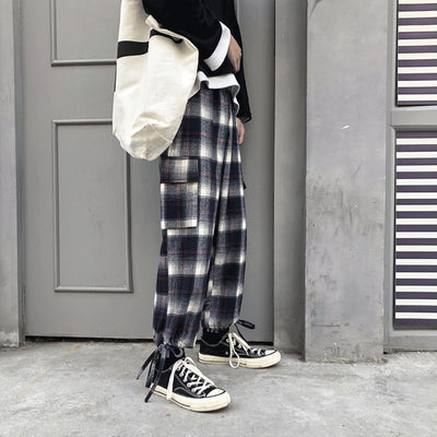 loose waist casual plaid check pants