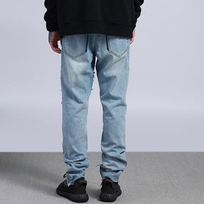 patch stitching washed out straight fit jeans in blue