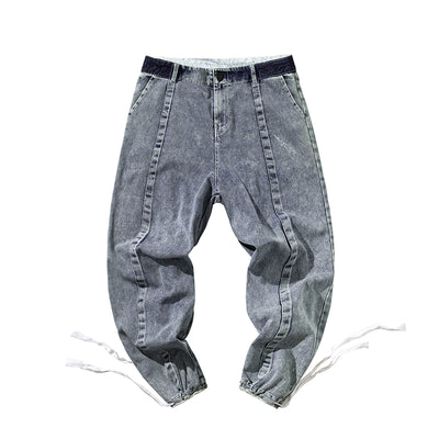 Wide leg raw finish middle stitch bleached straight fit jeans in blue