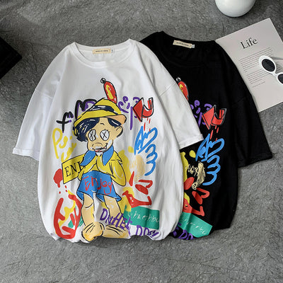 summer round neck short sleeve loose t-shirt