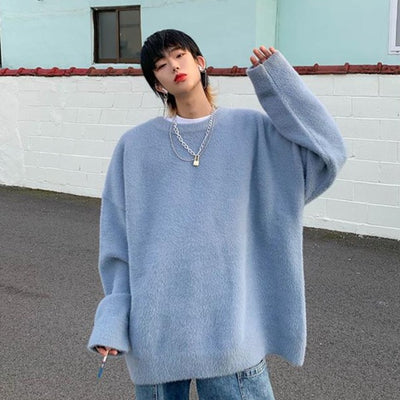 Mohair fluffy nice to touch Korean skater knitted sweater in 4 colors