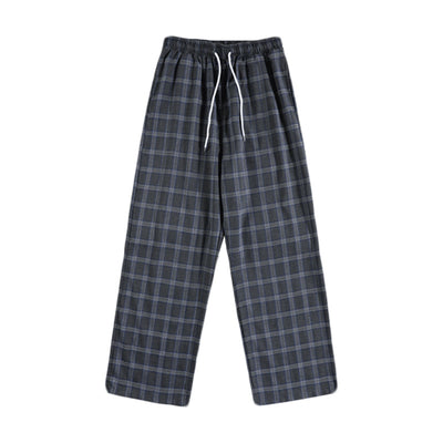 wide-leg plaid check loose straight fit pants in 2 colors