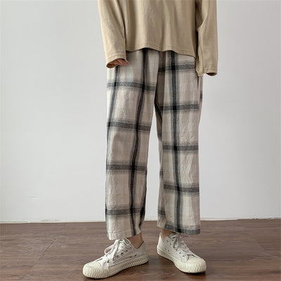 stripes casual wide-leg pants