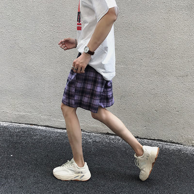 Plaid check gradient casual shorts in 2 colors