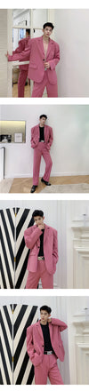 Ultra wide shoulder pad design casual suit set in pink
