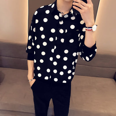 Polka dot Korean youth loose fit thin summer casual shirt in 2 colors