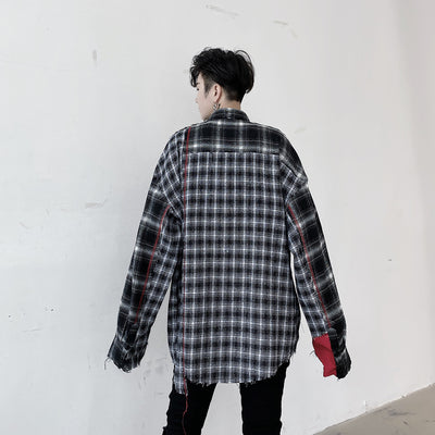 Autumn stitching plaid long-sleeved shirt