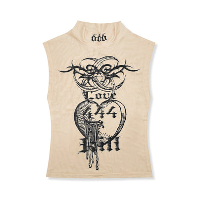 Totem printing sleeveless high turtleneck stretch vest mesh gauze tattoo Girl top