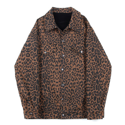 double-sided velvet animal leopard print loose reversible jacket
